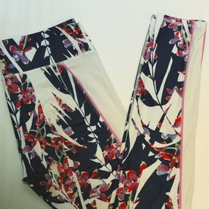 Fabletics Floral Print Leggings w/ side mesh panel